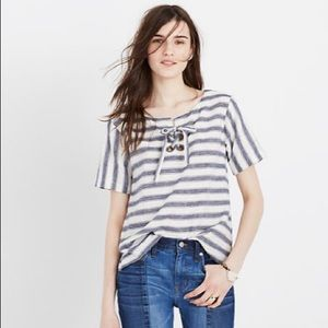 Madewell Striped Lace-Up Top